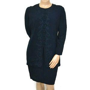 Karin Stevens 16, Embroiderd Faux Suit Midi Dress
